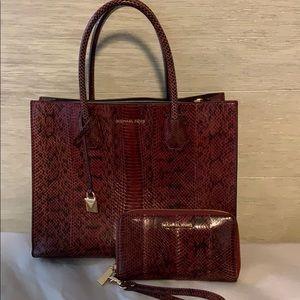 Michael Kors Snakeskin purse and wallet